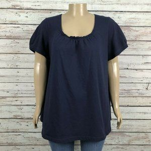 Woman Within Ruffled Gathered Scoop Neck T-shirt